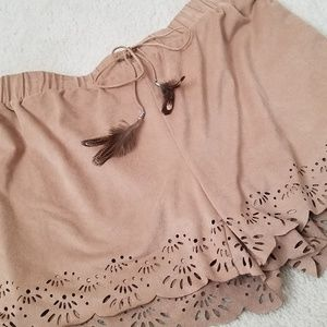 Faux suede feather cutout shorts